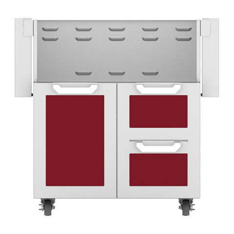 Hestan 30-Inch Double Drawer and Door Grill Cart in Burgundy - GCR30-BG