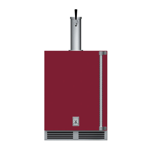 Hestan 24-Inch Outdoor Single Faucet Beer Dispenser, Solid Door with Lock (Left Hinged) in Burgundy - GFDSL241-BG