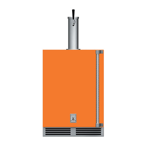 Hestan 24-Inch Outdoor Single Faucet Beer Dispenser, Solid Door with Lock (Left Hinged) in Orange - GFDSL241-OR