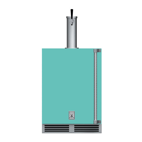 Hestan 24-Inch Outdoor Single Faucet Beer Dispenser, Solid Door with Lock (Left Hinged) in Turquoise - GFDSL241-TQ