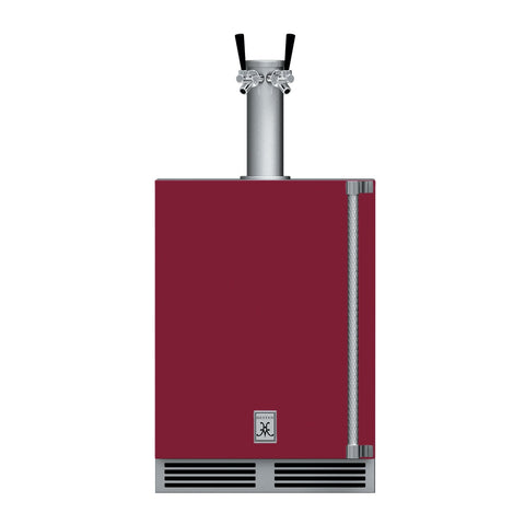 Hestan 24-Inch Outdoor Double Faucet Beer Dispenser, Solid Door with Lock (Left Hinged) in Burgundy - GFDSL242-BG