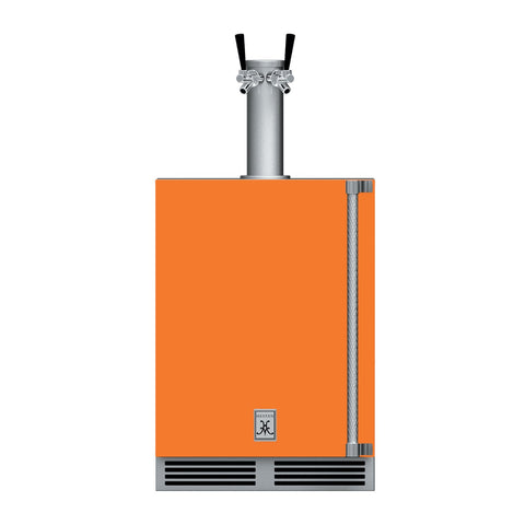Hestan 24-Inch Outdoor Double Faucet Beer Dispenser, Solid Door with Lock (Left Hinged) in Orange - GFDSL242-OR