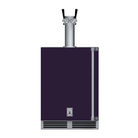Hestan 24-Inch Outdoor Double Faucet Beer Dispenser, Solid Door with Lock (Left Hinged) in Purple - GFDSL242-PP
