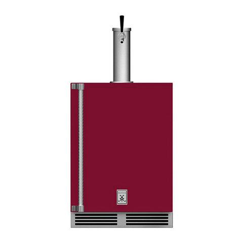 Hestan 24-Inch Outdoor Single Faucet Beer Dispenser, Solid Door with Lock (Right Hinged) in Burgundy - GFDSR241-BG
