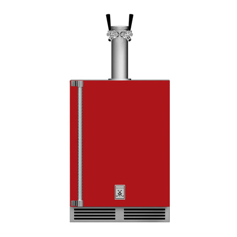 Hestan 24-Inch Outdoor Double Faucet Beer Dispenser, Solid Door with Lock (Right Hinged) in Red - GFDSR242-RD