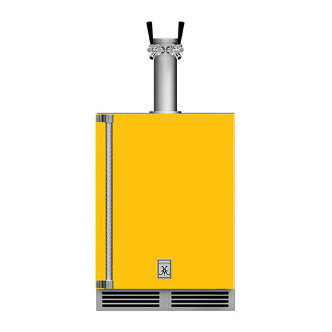 Hestan 24-Inch Outdoor Double Faucet Beer Dispenser, Solid Door with Lock (Right Hinged) in Yellow - GFDSR242-YW