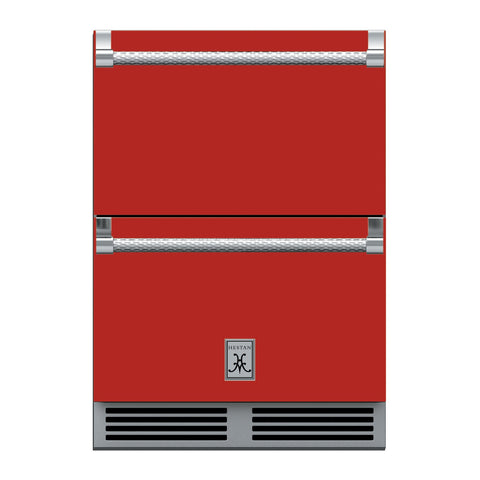 Hestan 24-Inch Outdoor Refrigerator Drawer (Upper) and Freezer Drawer (Lower) w/ Lock in Red - GRFR24-RD