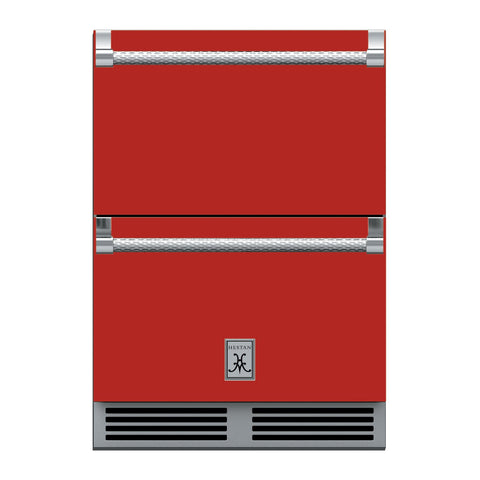 Hestan 24-Inch Outdoor Refrigerator Drawers w/ Lock in Red - GRR24-RD