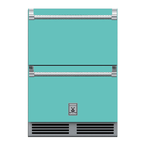 Hestan 24-Inch Outdoor Refrigerator Drawers w/ Lock in Turquoise - GRR24-TQ
