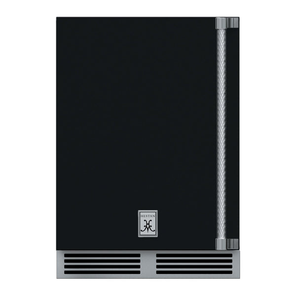 Hestan 24-Inch Outdoor Refrigerator w/ Solid Door and Lock (Left Hinge) in Black - GRSL24-BK