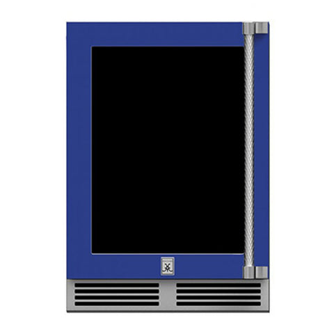 Hestan 24-Inch Outdoor Dual Zone Refrigerator Wine Storage w/ Glass Door and Lock (Left Hinge) in Blue - GRWGL24-BU