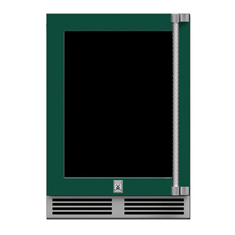 Hestan 24-Inch Outdoor Refrigerator w/ Glass Door and Lock (Left Hinge) in Green - GRGL24-GR