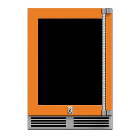 Hestan 24-Inch Outdoor Refrigerator w/ Glass Door and Lock (Left Hinge) in Orange - GRGL24-OR