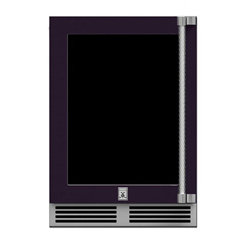 Hestan 24-Inch Outdoor Dual Zone Refrigerator Wine Storage w/ Glass Door and Lock (Left Hinge) in Purple - GRWGL24-PP