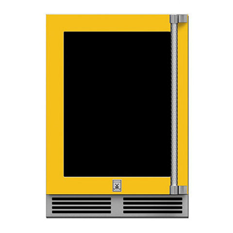 Hestan 24-Inch Outdoor Dual Zone Refrigerator Wine Storage w/ Glass Door and Lock (Left Hinge) in Yellow - GRWGL24-YW