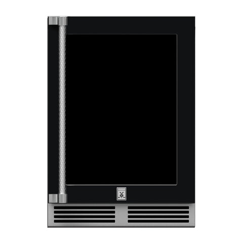 Hestan 24-Inch Outdoor Refrigerator w/ Glass Door and Lock (Right Hinge) in Black - GRGR24-BK