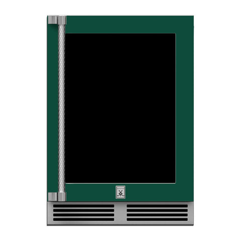 Hestan 24-Inch Outdoor Dual Zone Refrigerator Wine Storage w/ Glass Door and Lock (Right Hinge) in Green - GRWGR24-GR