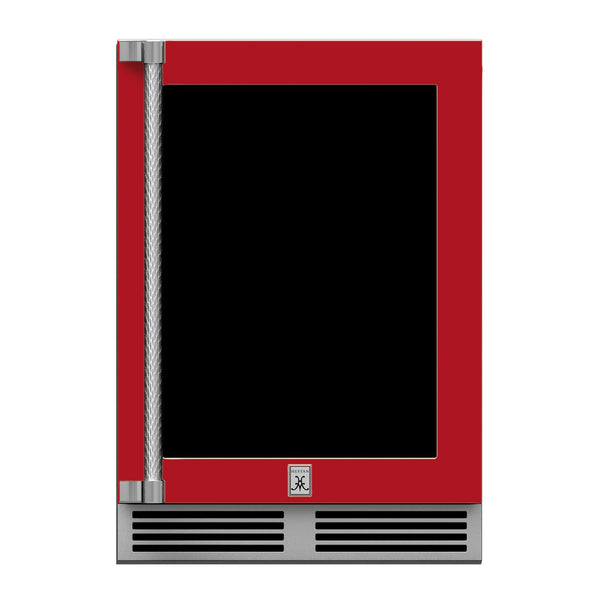 Hestan 24-Inch Outdoor Refrigerator w/ Glass Door and Lock (Right Hinge) in Red - GRGR24-RD