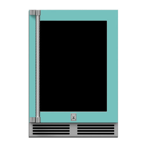 Hestan 24-Inch Outdoor Dual Zone Refrigerator Wine Storage w/ Glass Door and Lock (Right Hinge) in Turquoise - GRWGR24-TQ