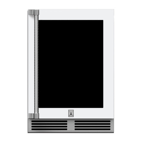 Hestan 24-Inch Outdoor Refrigerator w/ Glass Door and Lock (Right Hinge) in White - GRGR24-WH