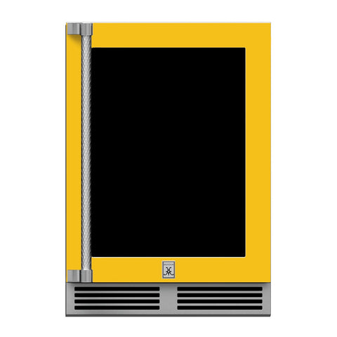 Hestan 24-Inch Outdoor Refrigerator w/ Glass Door and Lock (Right Hinge) in Yellow - GRGR24-YW