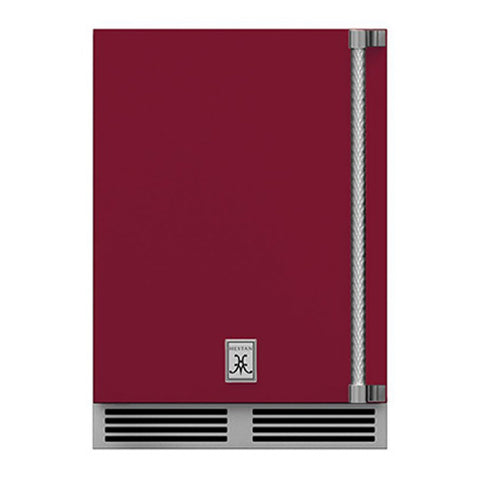 Hestan 24-Inch Outdoor Dual Zone Refrigerator Wine Storage w/ Solid Door and Lock (Left Hinge) in Burgundy - GRWSL24-BG