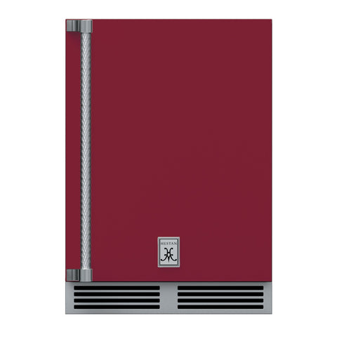 Hestan 24-Inch Outdoor Dual Zone Refrigerator Wine Storage w/ Solid Door and Lock (Right Hinge) in Burgundy - GRWSR24-BG