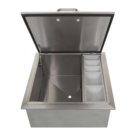 Grillscapes 18-Inch Stainless Steel Drop-In Ice Bin Cooler w/ Condiment Tray - GS-260-18DI