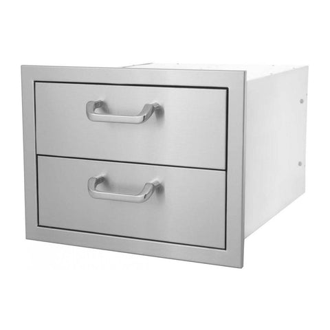 Grillscapes 16-Inch Stainless Steel Double Access Drawer - GS-260-DRW2