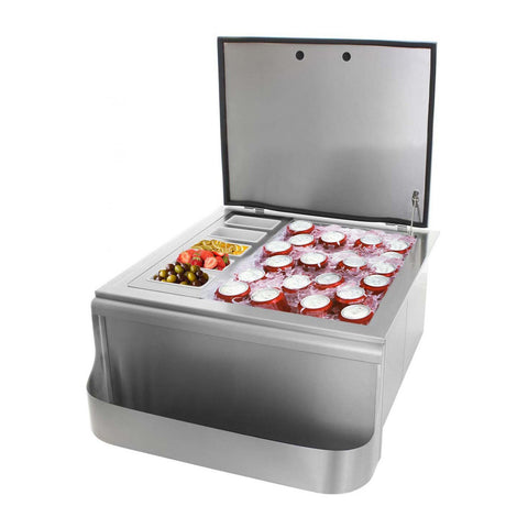 Grillscapes 25-Inch Stainless Steel Built-In Ice Bin Cooler w/ Speed Rail & Condiment Holder - GS-260-SI
