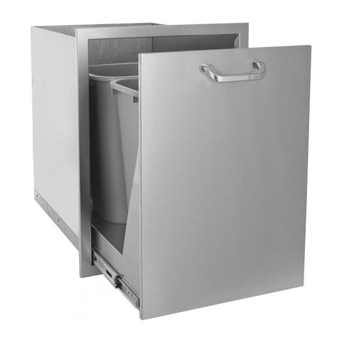 Grillscapes 20-Inch Stainless Steel Roll-Out Double Trash/Recycling Bin (Bin Included) - GS-260-TREC-DRW