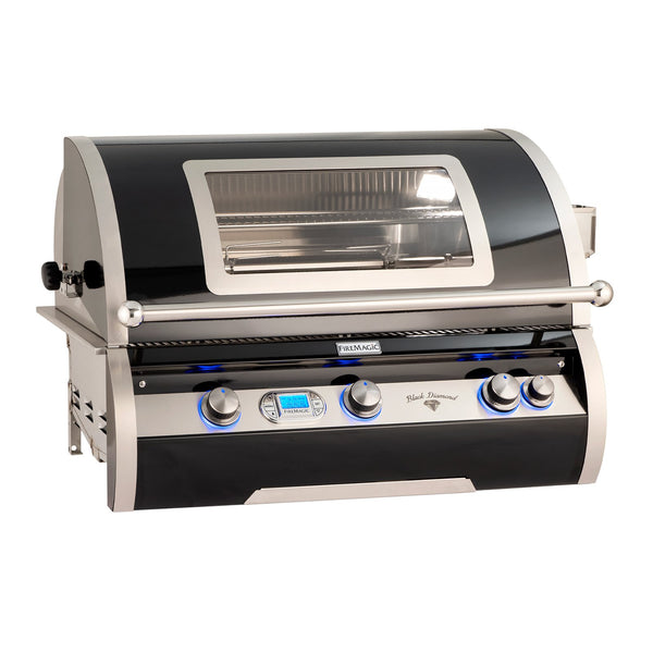 Fire Magic Echelon Black Diamond H790i 36-Inch Propane Gas Built-In Grill w/ Backburner, Rotisserie Kit, Magic View Window and Digital Thermometer - H790I-8E1P-W
