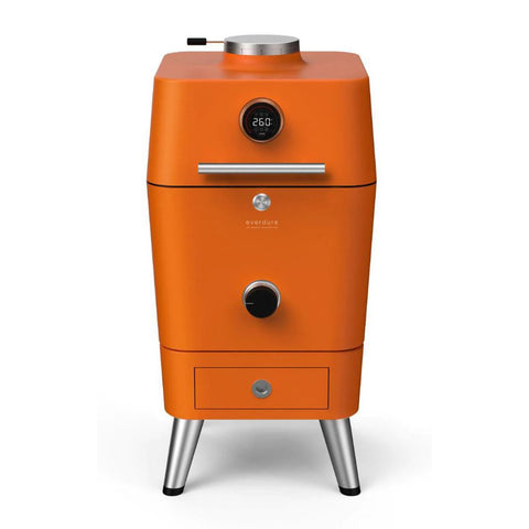 Everdure 4K Electric Ignition Freestanding Charcoal Grill & Smoker w/ Electric Ignition (Orange) - HBCE4KOUS