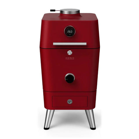 Everdure 4K Electric Ignition Freestanding Charcoal Grill & Smoker w/ Electric Ignition (Red) - HBCE4KRUS