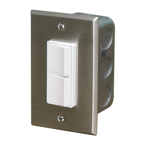 Infratech Duplex Single Switch w/ Stainless Steel Wall Plate and Gang Box (20 Amp Per Pole) - 14 4300