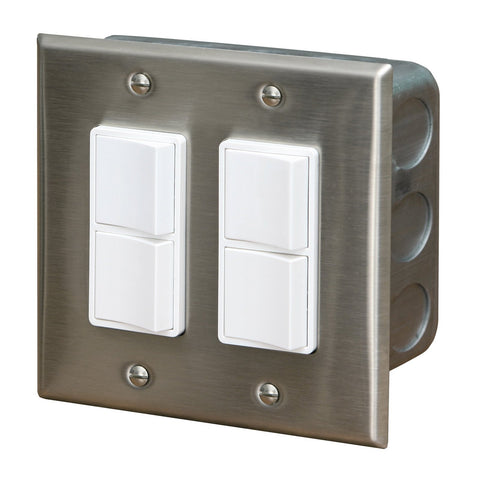 Infratech Duplex Dual Switch w/ Stainless Steel Wall Plate and Gang Box (20 Amp Per Pole) - 14 4305