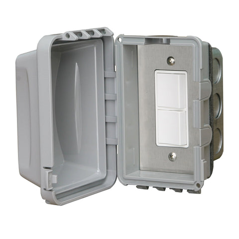 Infratech Duplex Single Switch w/ Flush Mount and Weather Proof Gang Box (20 Amp Per Pole) - 14 4310