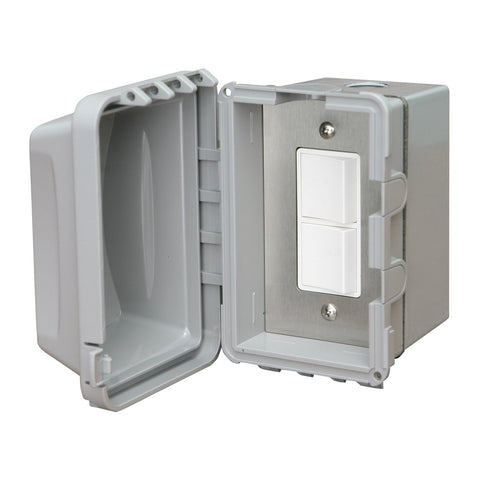 Infratech Duplex Single Switch w/ Surface Mount and Weather Proof Gang Box (20 Amp Per Pole) - 14 4320