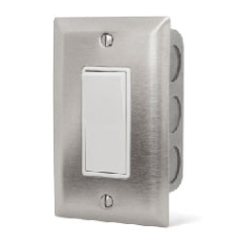 Infratech Simple On/Off Single Switch w/ Stainless Steel Wall Plate and Gang Box (20 Amp Per Switch) - 14 4400