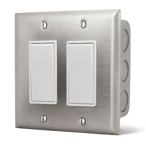 Infratech Simple On/Off Dual Switch w/ Stainless Steel Wall Plate and Gang Box (20 Amp Per Switch) - 14 4405