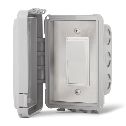 Infratech Simple On/Off Single Switch w/ Flush Mount and Weather Proof Gang Box (20 Amp Per Switch) - 14 4410