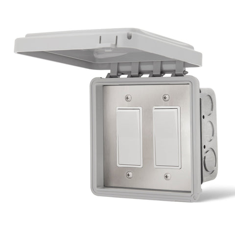 Infratech Simple On/Off Dual Switch w/ Flush Mount and Weather Proof Gang Box (20 Amp Per Switch) - 14 4415