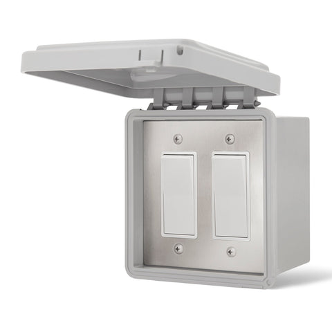 Infratech Simple On/Off Dual Switch w/ Surface Mount and Weather Proof Gang Box (20 Amp Per Switch) - 14 4425
