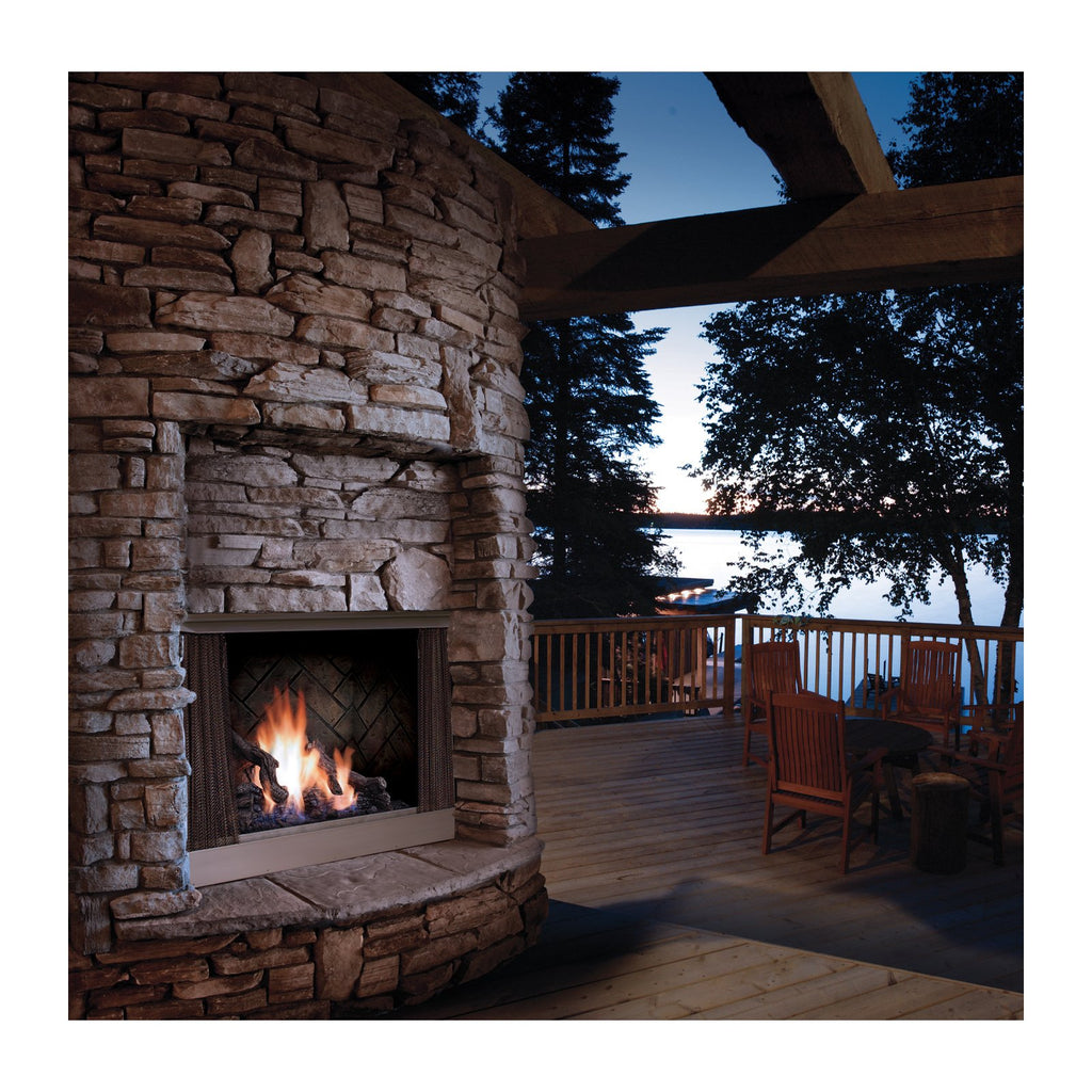 Barbara Jean 37-Inch Natural Gas 55,000 BTU Outdoor Vent-Free Fireplace in Stainless Steel - KFOFP42NS