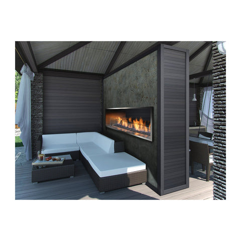 Barbara Jean 55-Inch Natural Gas 80,000 BTU Outdoor See-Thru Sided Linear Fireplace - KFOFP5548S2