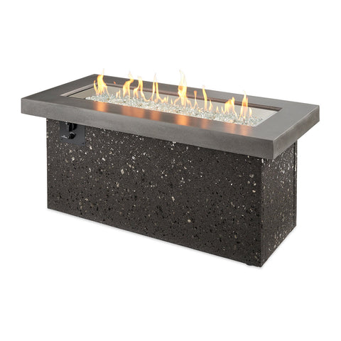 The Outdoor GreatRoom Key Largo 54-Inch Linear Propane Gas Fire Pit Table in Grey w/ Direct Spark Ignition - KL-1242-MM + CF-DSI-LP