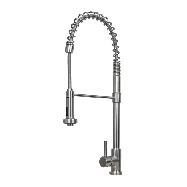 E2 Stainless Solid Stainless Steel Hot & Cold Water Faucet w/ Single Lever Water Control, Pull Out Sprayer and Selectable Spray Patterns - KPS3031/Niagara
