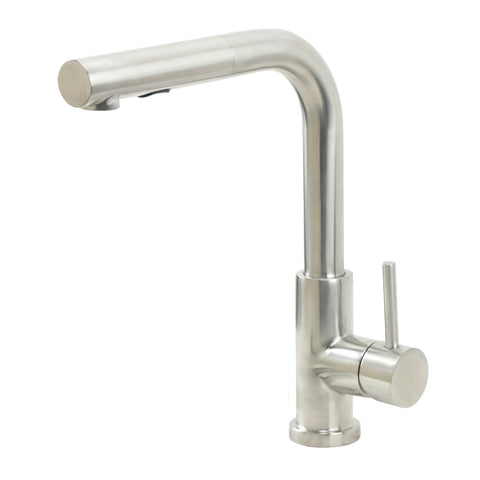E2 Stainless Solid Stainless Steel Hot & Cold Water Faucet w/ Single Lever Water Control, Pull Out Sprayer and Selectable Spray Patterns - KPS3032C/May