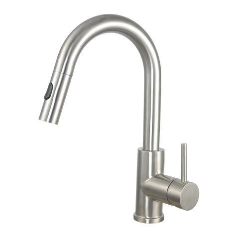 E2 Stainless Solid Stainless Steel Hot & Cold Water Gooseneck Faucet w/ Single Lever Water Control, Pull Out Sprayer and Selectable Spray Patterns - KPS3033C/Clarkson