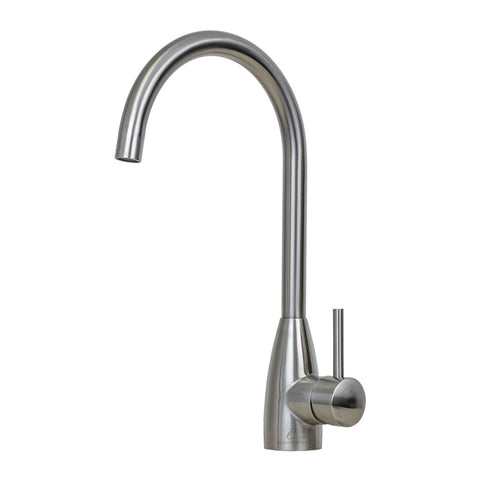 E2 Stainless Solid Stainless Steel Hot & Cold Water Gooseneck Faucet w/ Single Lever Water Control - KS2940/Merced